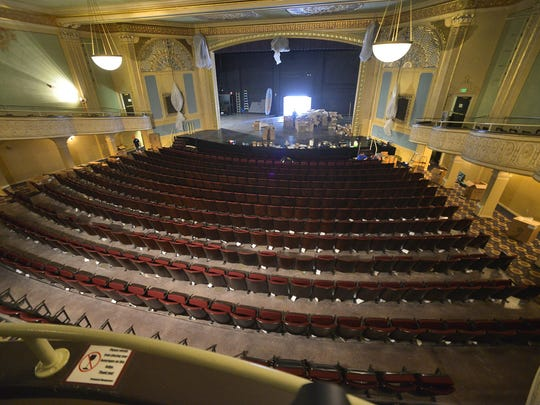 The 806 new American Seating seats are mostly in place in this photo taken Thursday in the Paramount Theatre.
