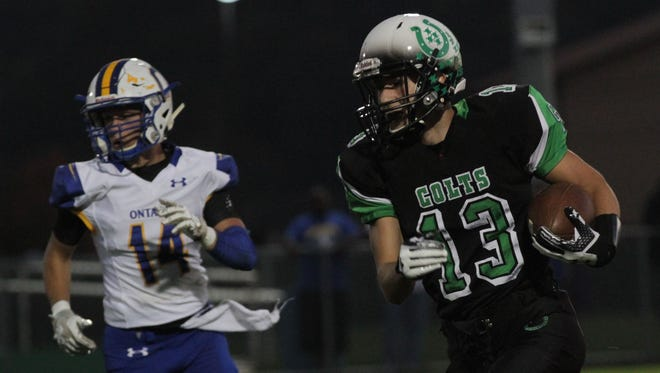 Clear Fork's Jake Lowe runs against Ontario last week. The Colts will play at Pleasant Friday night with a Mid Ohio Athletic Conference title on the line.