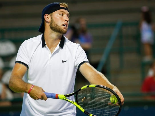 Jack Sock of the Springfield Lasers lines up a serve