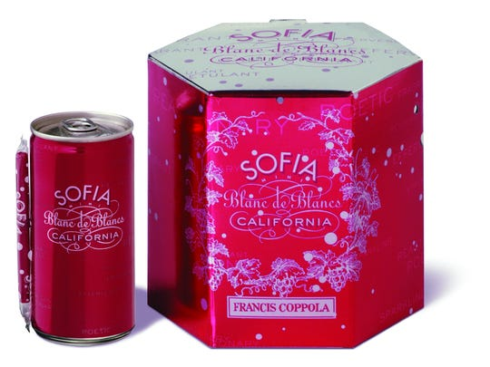 Sofia Blanc de Blancs comes in an attractive pink hexagon box with four cans and four straws.