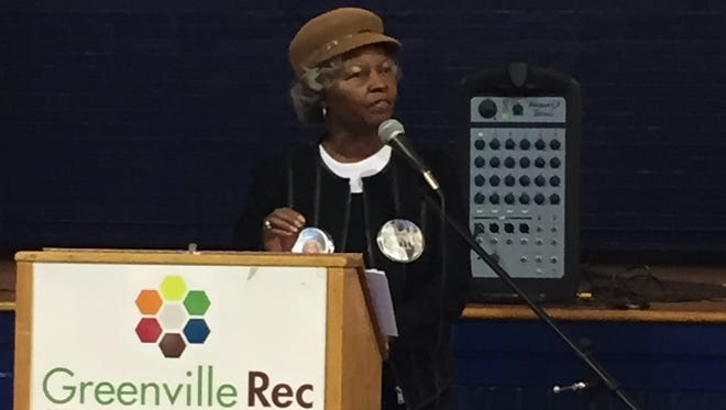 Eunice Coakley-Guyton speaks at the 22nd annual Dr. Martin Luther King Jr. Unity Sports Breakfast Program.