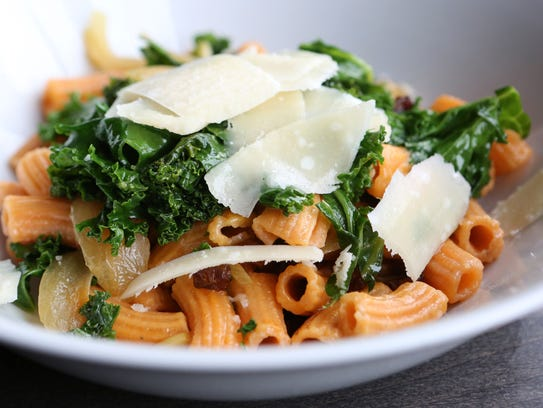 Rigatoni with roasted beets, garlic, onions, greens, pine nuts and parmesan cheese at the Clock Tower Grill in Brewster.
