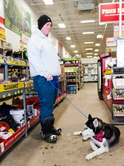 Dogs are often welcome at Tractor Supply Co., which carries pet supplies.
