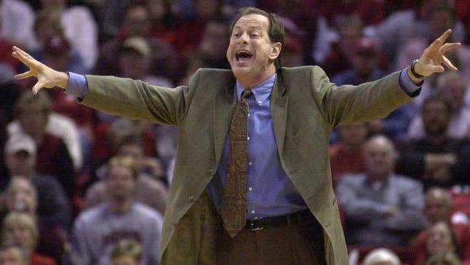 John Brady shouts instructions to his LSU team during a January 2004 win at Arkansas. Jan. 6, 2004.