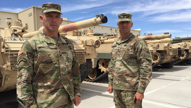 Col. Chuck Masaracchia, left, and Command Sgt. Maj. Daniel Hendrex led the 2nd Brigade for the past two years. They will relinquish command on June 10.