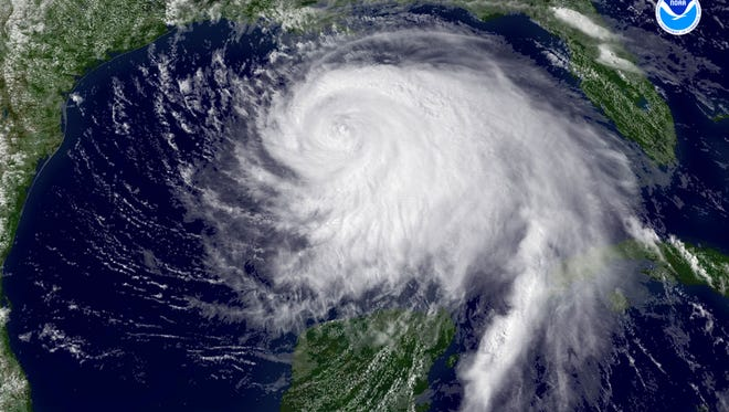 Hurricane Ike spins off the Gulf Coast on Thursday, Sept. 11, 2008. Only four hurricanes have hit the U.S. since then, a record low number.