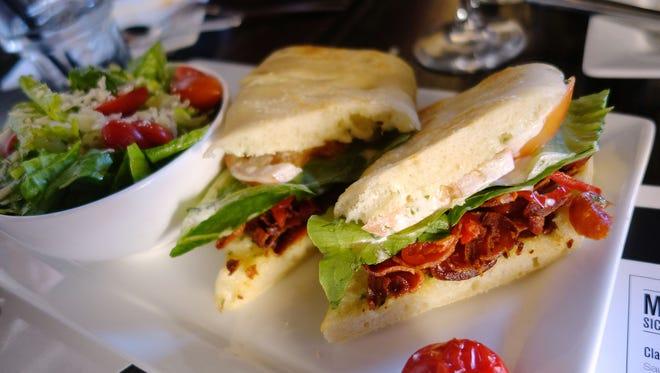 PLT with crispy pepperoni, lettuce, tomato, gorgonzola and aioli at Lamp Cafe