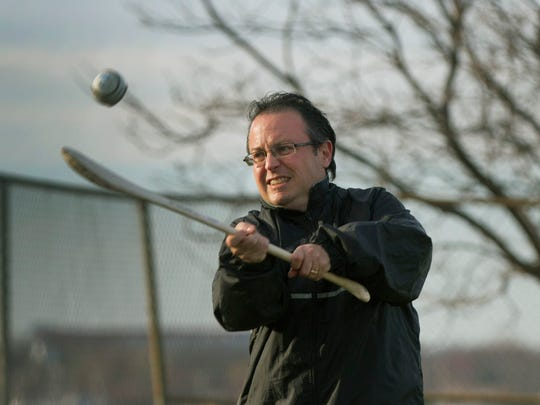 Columnist Jerry Carino works on his skills at hurling practice with the Jersey Shore GAA (Gaelic Athletic Association).