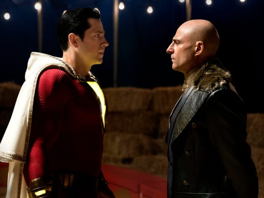 "Zachary Levi, left, and Mark Strong in ""Shazam!"""