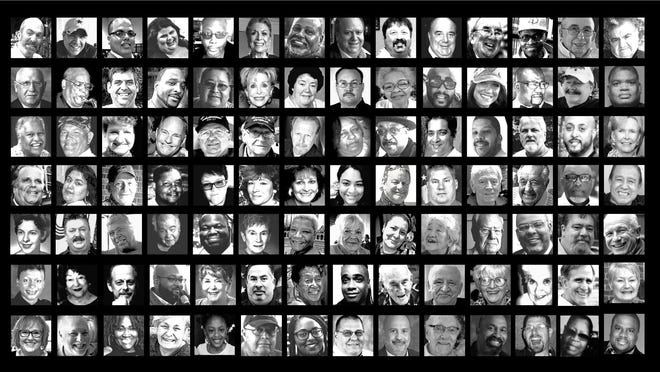 One hundred faces of the United States' 100,000 deaths from COVID-19.