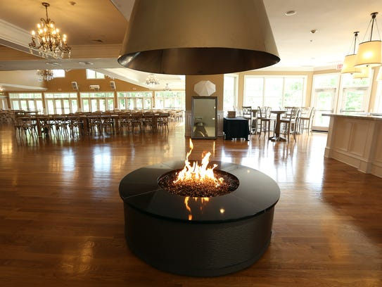 Indoor fire pit at Bear Brook Valley, a new luxury