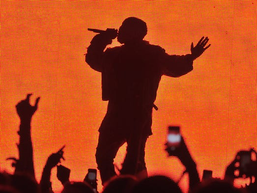 Kanye West performs on the What Stage at the Bonnaroo Music  & Arts Festival on Friday, June 13, in Manchester, Tenn.