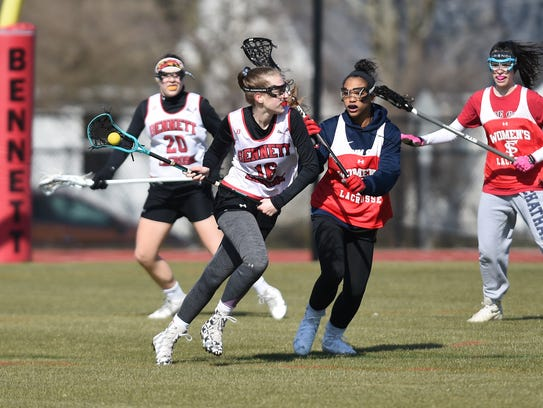 James M. Bennett High's Hope Shearer in a scrimmage on Mar. 16, 2018. Shearer is headed to the D-II stage at Shippensburg University.