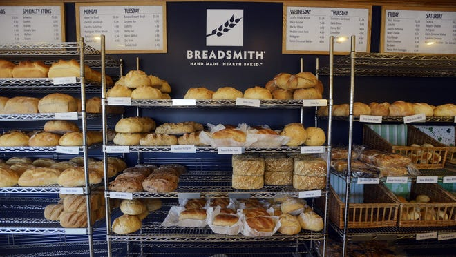 Loaves of bread on the shelves at the Breadsmith at 33rd and Duluth Ave in Sioux Falls, in this 2015 file photo