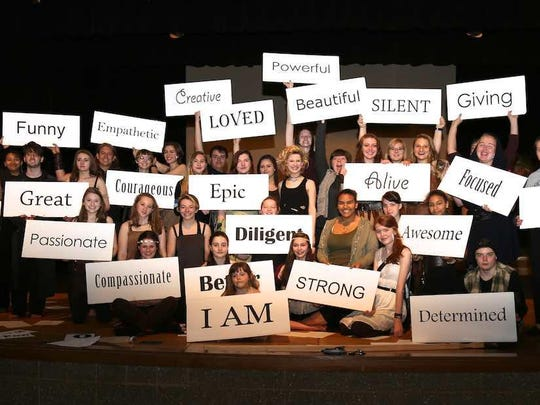 "Door County high school students make positive statements in a scene from ""LEAP: The Human Kindness Project,"" which returns with a new cast to Southern Door Community Auditorium on April 13 and 15."