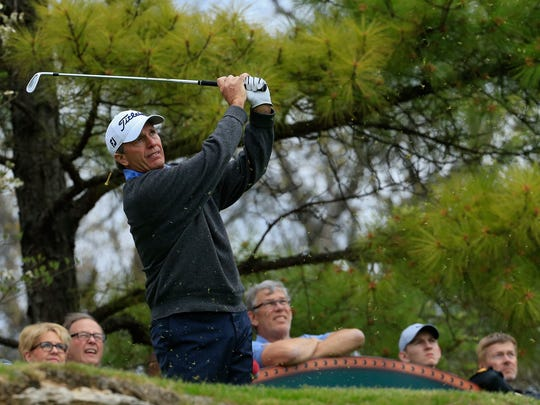Jerry Pate hits a tee shot during the third round of the PGA TOUR Champions Bass Pro Shops Legends of Golf at Big Cedar Lodge held at Top of the Rock on April 21, 2018 in Ridgedale, Missouri.
