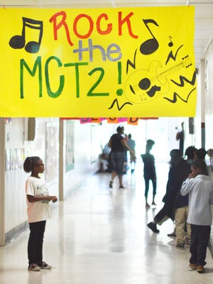 Banners are posted this week at Heidelberg Elementary School to help motivate students for tests.