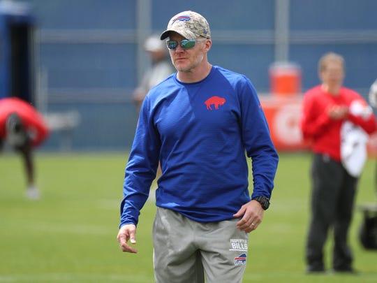 Bills head coach Sean McDermott leading the team through