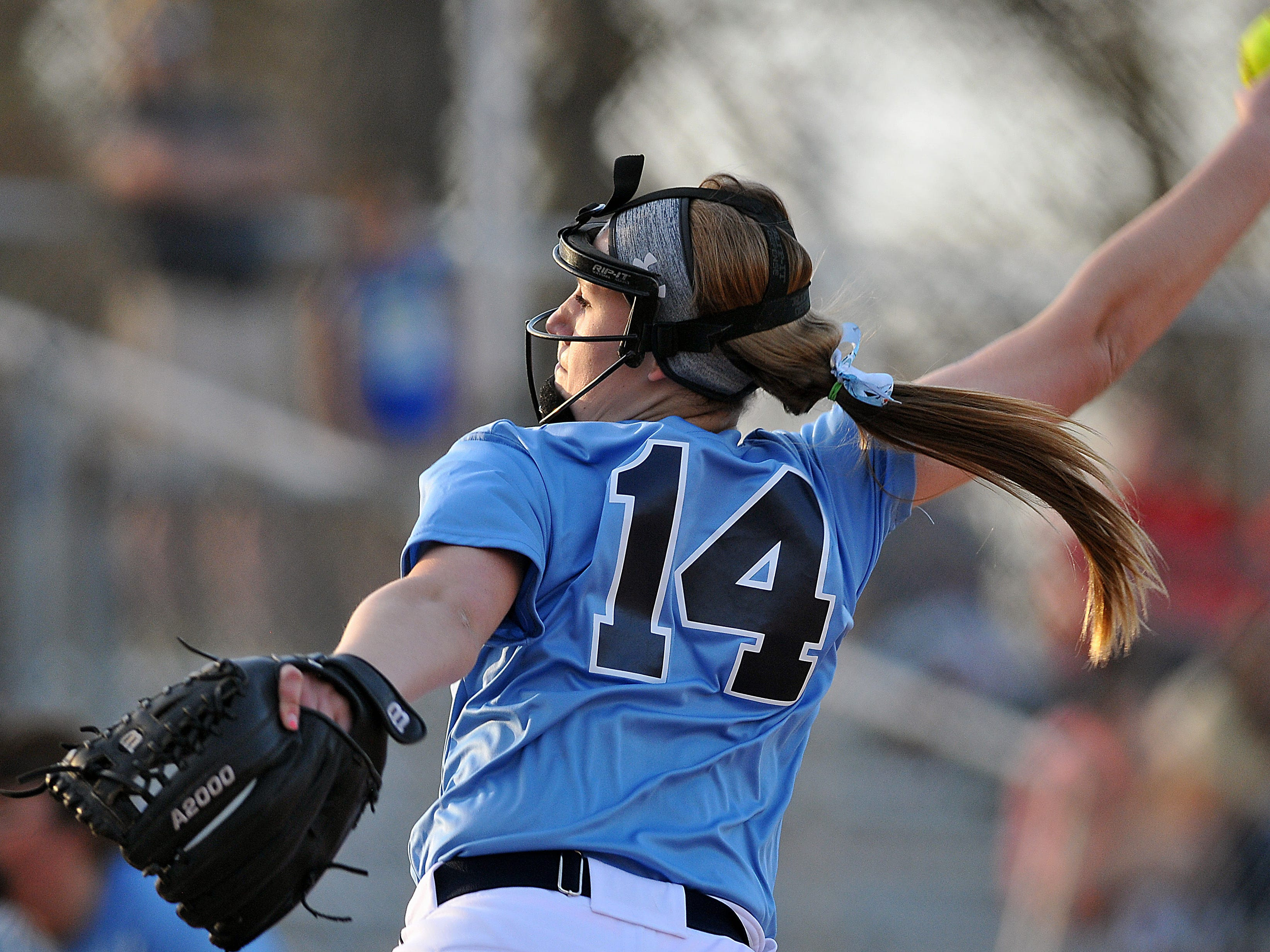 Hillsdale's Sydney Long pitches against Loudonville during the Wendy's Spring Classic at Brookside Park Friday.
