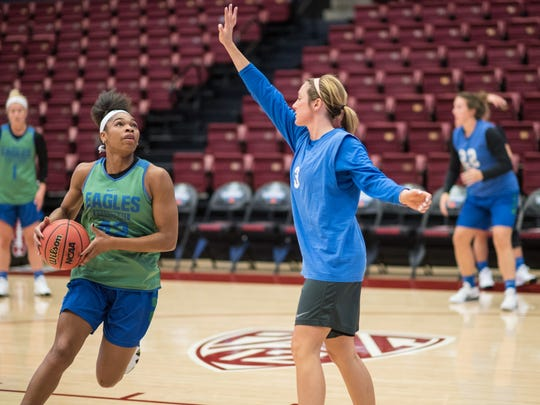 The FGCU women's basketball team practices at Maples Pavilion in Stanford, California on Friday, March 16, 2018 before their NCAA 1st Round game against Missouri on Saturday.