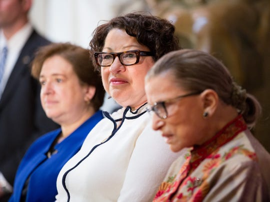 Justices Elena Kagan, Sonia Sotomayor and Ruth Bader