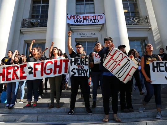 FILE -- Latino students protest Donald Trump on the