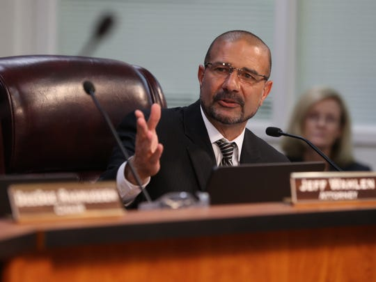 New Leon County School Superintendent Rocky Hanna speaks during a ceremony and board meeting Tuesday.