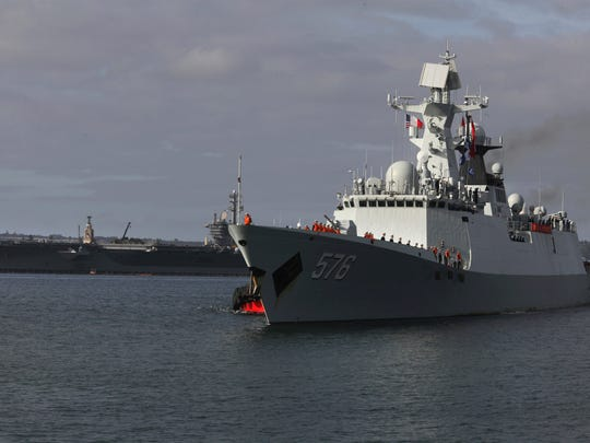 This file picture shows the Chinese Navy frigate Daqing
