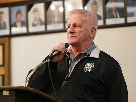 Mike Walden, president, National United Committee to Protect Pensions, speaks during a meeting for the Central States Pension Fund, at the American Legion Post 500, in Indianapolis, March 4, 2017.
