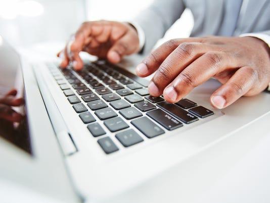 Hands over keypad