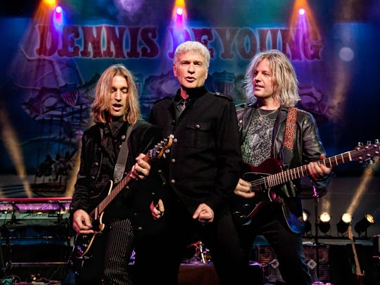 Former Styx vocalist Dennis DeYoung, center, will play Mequon's Gathering on the Green festival on Saturday, July 14 with a six-piece band including guitarist August Zadra, left, and Jimmy Leahey.
