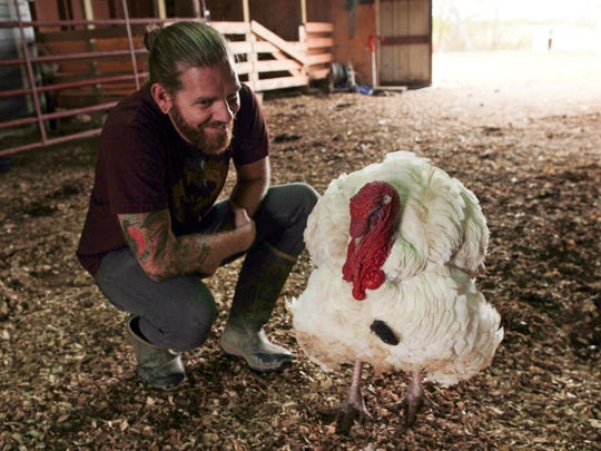 Jered Camp greets a rescued turkey at the Iowa Farm Sanctuary. The sanctuary works to rescue animals that were once meant to be slaughtered.