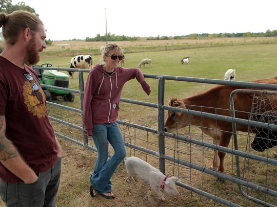 Jered and Shawn Camp discuss their goals of the Iowa Farm Sanctuary, in Marengo, Iowa.