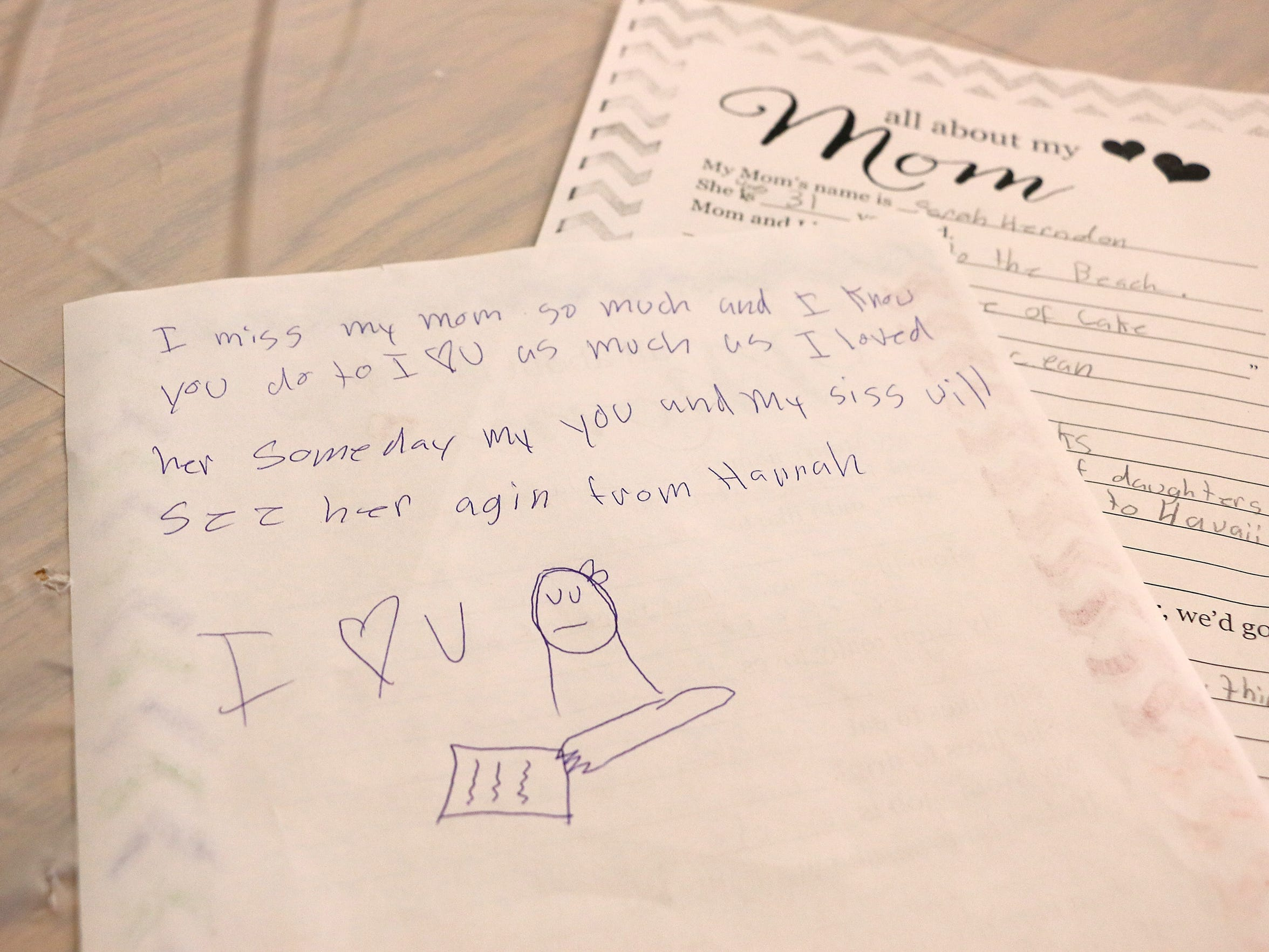 A note written by her granddaughter Hannah to Cathy Taylor is seen during a Mother's Day brunch at the Doral Academy in Reno on May 8, 2018. Taylor's daughter, Hannah's mom, died of cancer this past January.