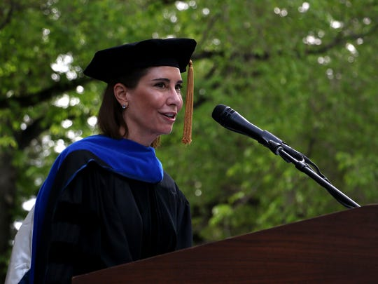 Lauralyn McCarthy speaks during the University of Nevada, Reno commencement ceremony on Saturday morning, May 19, 2018.