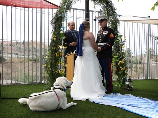 With Bell the dog acting as ring bearer, Carolyn Kirk and Cameron Grischott get married at the Nevada Society for the Prevention of Cruelty to Animals, or SPCA, building in Reno on May 24, 2018.