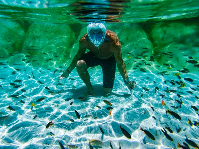 A tourist snorkels with tropical fishes in a swimming
