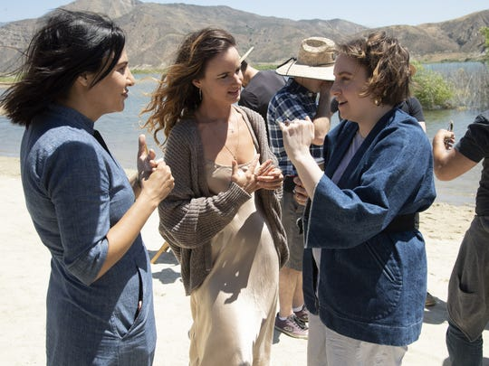 """""""Camping"""" co-creator Jenni Konner, left, with Juliette Lewis and Lena Dunham on the series' Los Angeles set."""