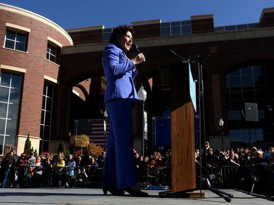 U.S. Rep. Jacky Rosen, D-Nev., who is challenging Dean Heller for the U.S. Senate, speaks on the University of Nevada, Reno campus on Oct. 25, 2018.