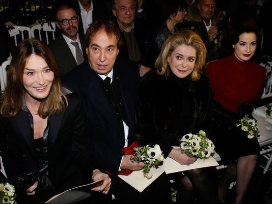 Carla Bruni-Sarkozy (L), Catherine Deneuve (2R), and Dita Von Teese