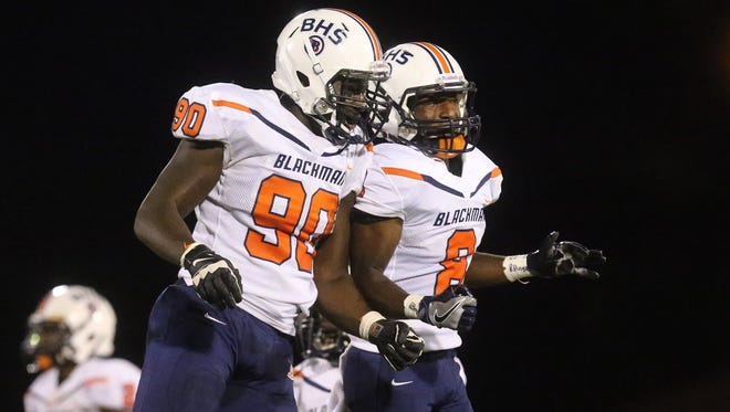 Blackman's Ben Kalu (90) was chosen to participate in the Toyota East-West All-Star Classic on Dec. 8 at Austin Peay.