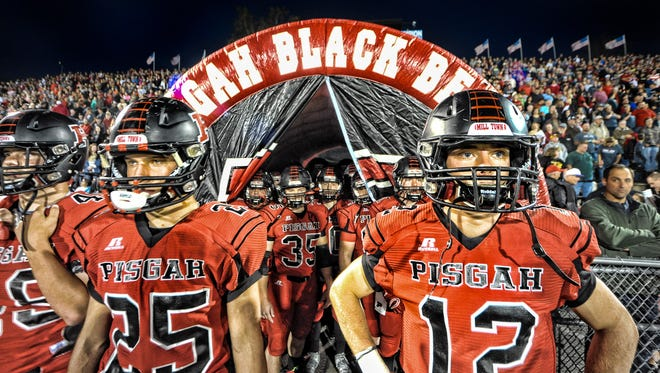Lucas Hall (12) and Pisgah scored a 37-20 win over arch rival Tuscola on Friday in Canton.