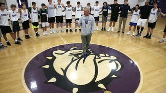 Rumson-Fair Haven boys basketball coach Chris Champeau, talks to  players during practice at Rumson Fair -Haven High School. Rumson,NJ. Tuesday, December 12, 2017.   Noah K. Murray-Correspondent Asbury Park Press