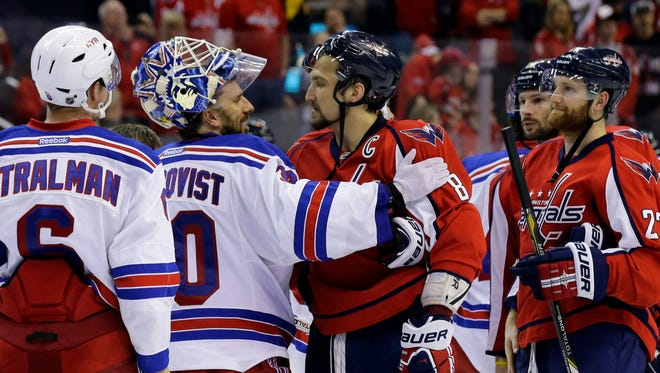 Goalie Henrik Lundqvist (30) and the Rangers ousted Alex Ovechkin and the Capitals from last season's playoffs by winning Games 6 and 7.