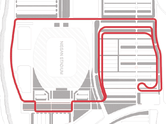 The proposed route of the race around Nissan Stadium.