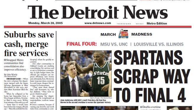 Detroit News front pages from the week of March 28, 2005