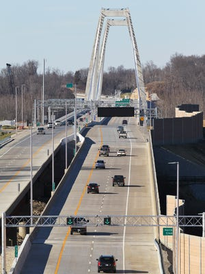 Traffic was light on the first tolling day of the East End bridge Friday afternoon. This is the view from atop the tunnel near Harrods Creek.