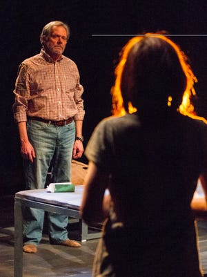 "Delaware Theater Company executive director Bud Martin, left, and Karen Peakes star in DTC's production of ""Heisenberg."""