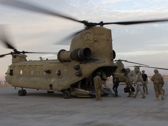 A CH-47F Chinook helicopter, assigned to Task Force