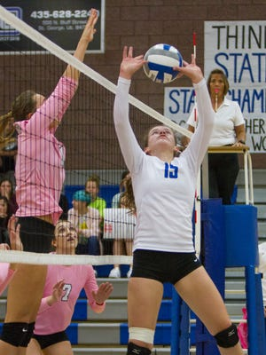 Dixie High and Pine View volleyball compete at Dixie High School Tuesday, Oct. 11, 2016.
